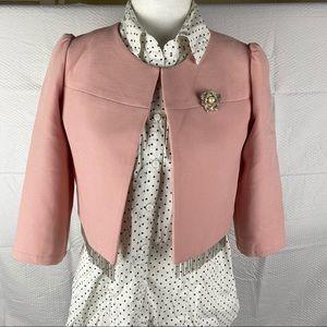 Women's Yijiayuan Light Pink Long Sleeve Crop Blazer Jacket Size M